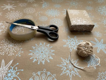 Wrapping Paper Snowflake Repeat Pattern Hand Printed Screen