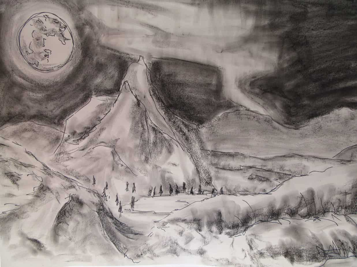 escape charcoal and fineliner mountains moon landscape