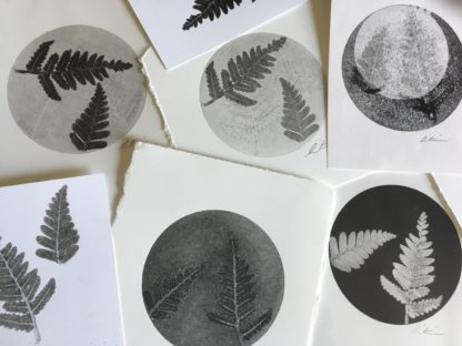Fern Mono Print black and white circle