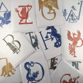 hand original print greetings card mythical creature beast alphabet lino