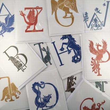 hand original print greetings card mythical creature beast alphabet lino