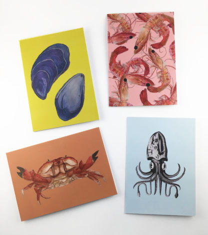 Quints Prints Card Selection Shell Muscle Prawn Shellfish Crab Squid Octopus Fish